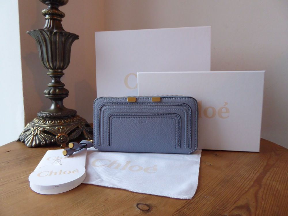 Chloé Marcie Long Continental Zip Around Wallet Purse in Washed Blue Calfsk