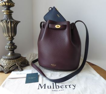 Mulberry Abbey Small Bucket Bag in Oxblood and Oxford Blue Small Classic Grain