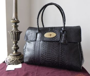 Mulberry Classic Heritage Bayswater in Ink Blue Silky Snake Shine Calfskin
