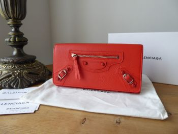 Balenciaga Neo Classic Continental Flap Wallet in Rose Corail Calfskin with Shiny Silver Hardware