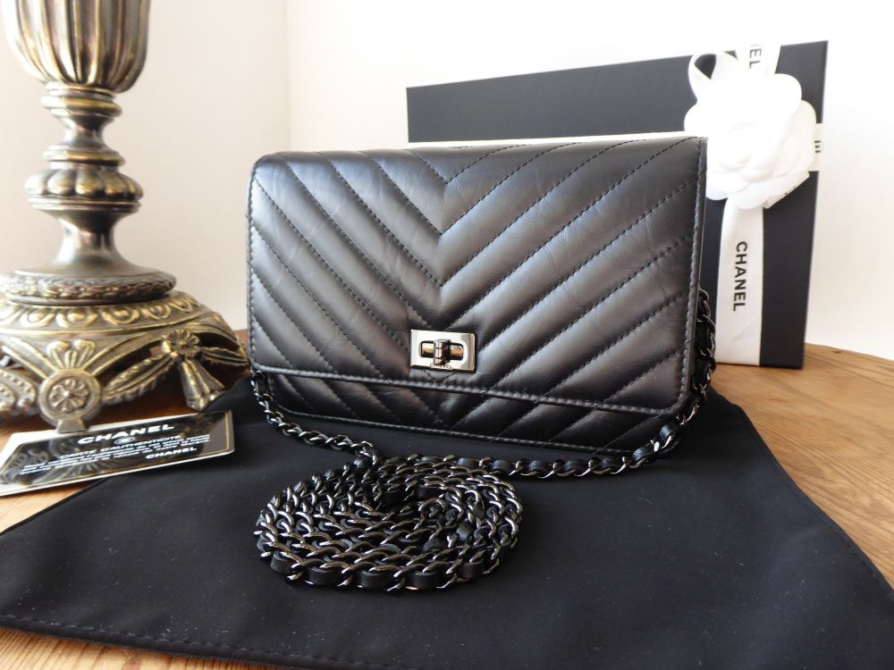 Chanel 'So Black'  WoC Wallet on Chain Reissue 2.55 in Chevron Quilted Calf