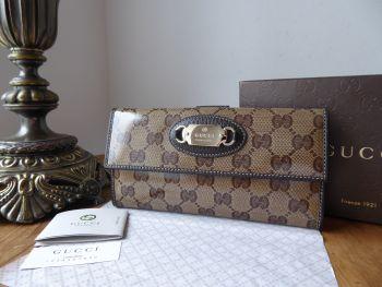 Gucci Continental Flap Purse Wallet in Ebony Beige Crystal GG Monogram - SOLD