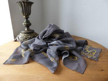 Fendi Sparkle Gems Charm Bracelet Rectangular Scarf Wrap in Fog Grey Silk Chiffon - SOLD