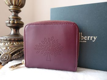 Mulberry Blossom Compact Bifold Wallet in Oxblood Calf Nappa Leather