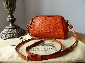 Burberry Mini Blaze Messenger in Burnt Amber Orange Calfskin with Shiny Gold Hardware