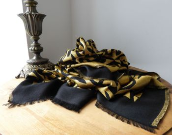 Gucci Black & Gold GG Fil Coupé Lamé Scarf Rectangular Wrap Stole in Wool Silk Mix - SOLD