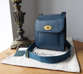 Mulberry Small Antony Messenger in Deep Sea Blue Small Classic Grain - SOLD