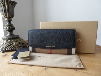 Burberry Porter Continental Flap Long Wallet Purse in House Check & Black Calfskin - SOLD