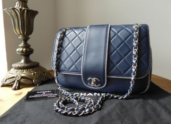Chanel CC Medium Flap Bag in Soft Navy Blue Calfskin with Sparkle Trim & Shiny Silver Hardware