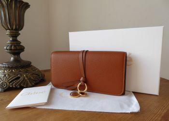 Chloé Alphabet Long Flap Wallet Purse in Tan Pebbled Calfskin - SOLD