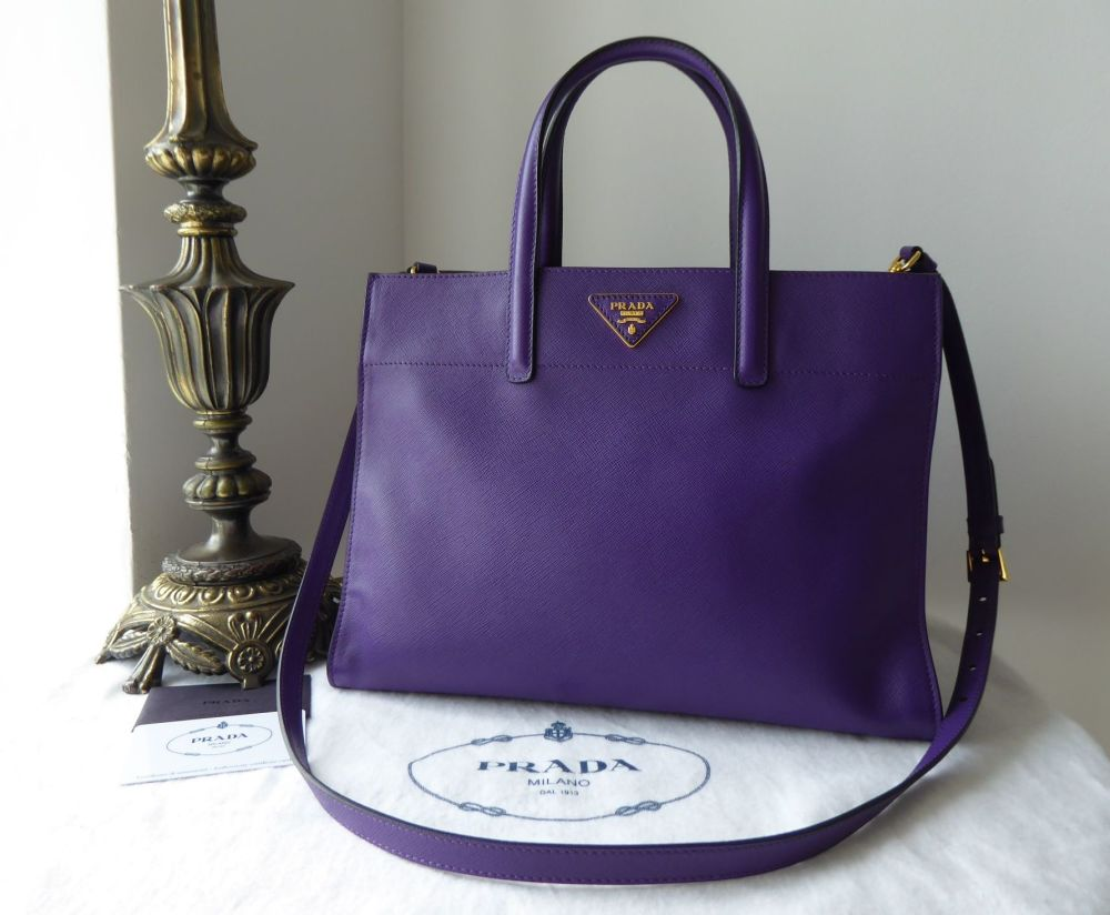 Prada Soft Tote in Viola Purple Saffiano Leather