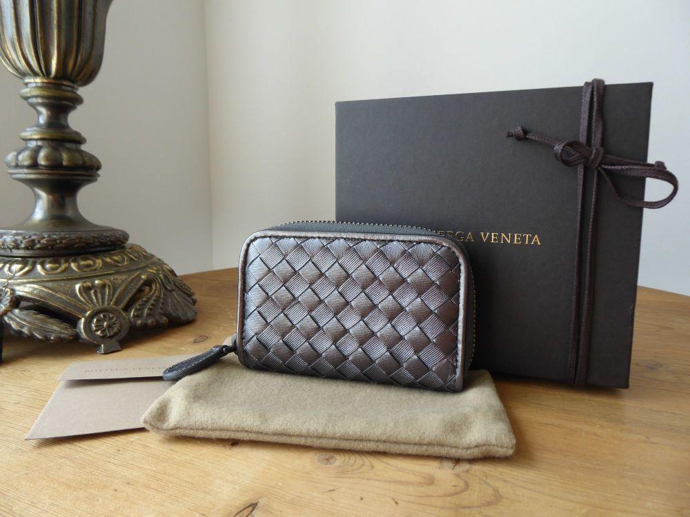 Bottega Veneta Small Zip Around Coin Card Purse Wallet in Metallic Pewter I