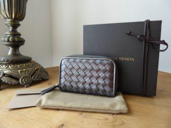 Bottega Veneta Small Zip Around Coin Card Purse Wallet in Metallic Pewter Silver Intrecciato - New