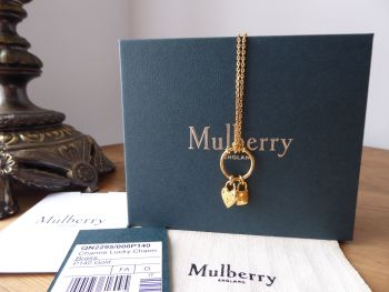 Mulberry Lucky Charms Mini Heart & Padlock  Necklace in Golden Brass - SOLD