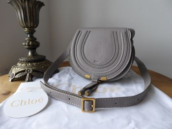 Chloé Marcie Round Saddle Mini Bag in Cashmere Grey Pebbled Calfskin - SOLD