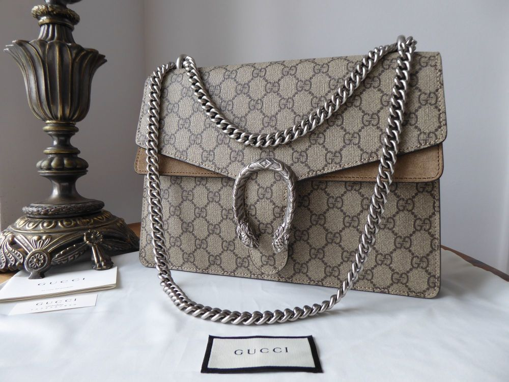 Gucci Dionysus Medium Flap in GG Supreme and Taupe Suede
