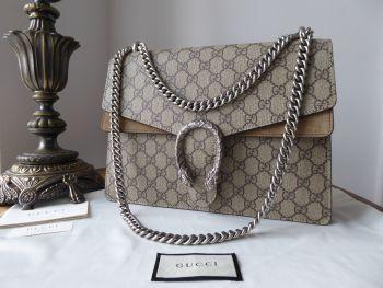 Gucci Dionysus Medium Flap Shoulder Bag in GG Ebony Beige Supreme and Taupe Suede