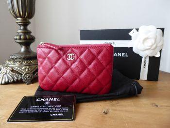 Chanel Mini Zip Purse O Case in Dark Pink Caviar with Silver Hardware - SOLD