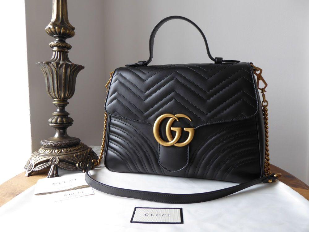 Gucci Marmont Medium Top Handle in Black Matelassé Calfskin - New
