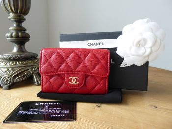 Chanel Classic Flap Compact Card Holder Coin Purse in Red Caviar with Gold Hardware - As New*