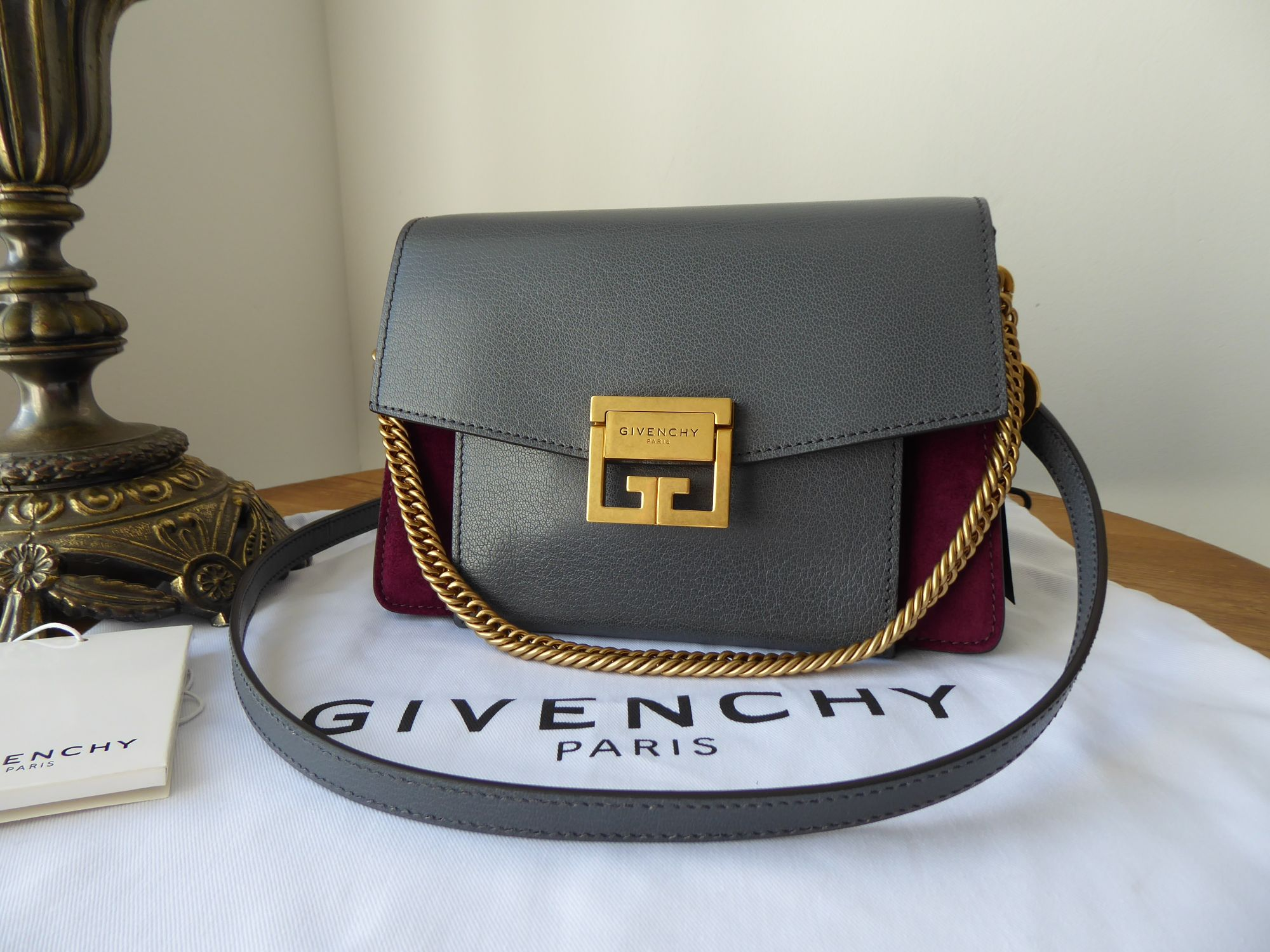 Givenchy Small GV3 in Storm Grey Goatskin and Aubergine Suede