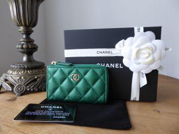 Chanel Classic Part Zip Key Wallet Purse in Iridescent Metallic Emerald Green Caviar - SOLD