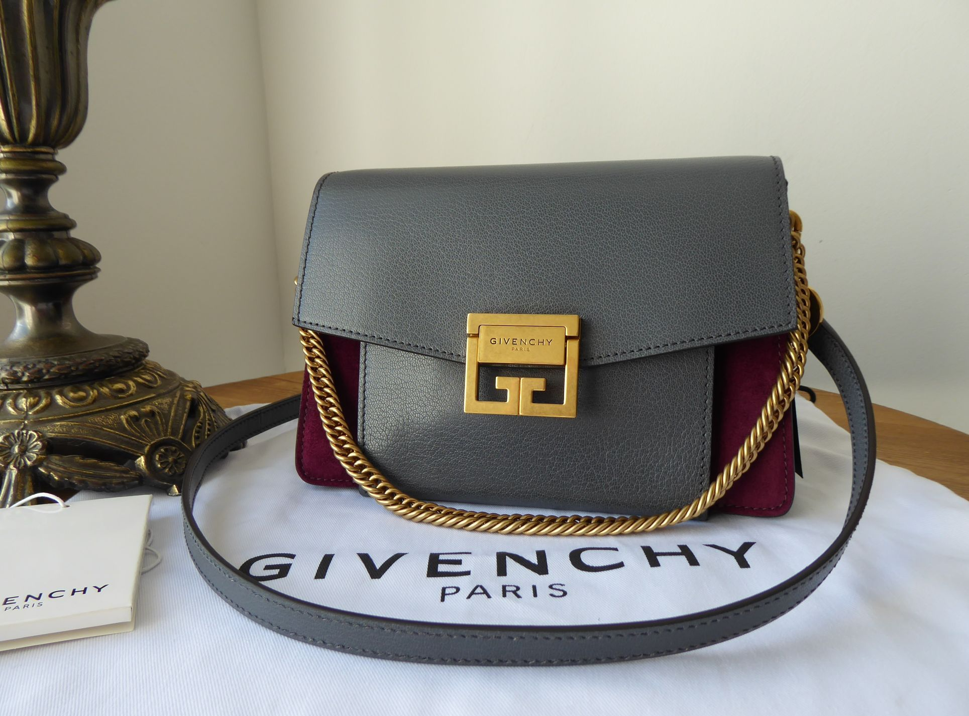 Givenchy Small GV3 in Storm Grey Goatskin and Aubergine Suede New