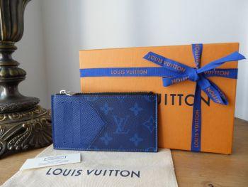 Louis Vuitton Coin Card Holder in Taigarama Cobalt Blue Monogram - New