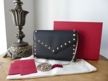 Valentino Garavani Rockstud Wallet on Chain Shoulder Bag in Black Calfskin - New