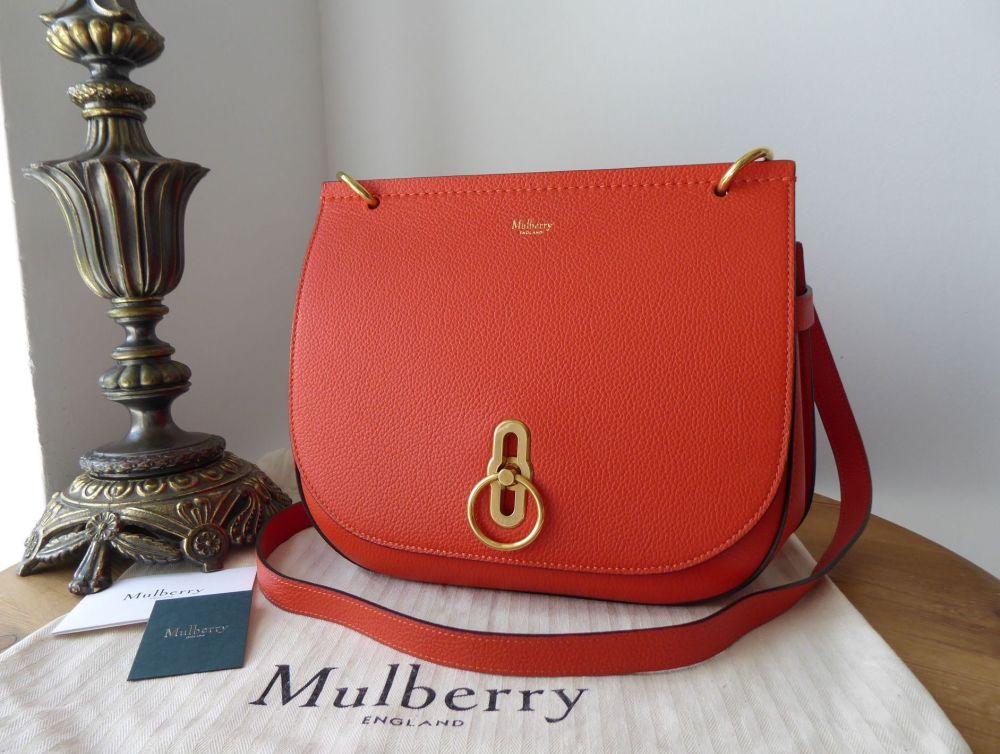 Mulberry Amberley Satchel in Tangerine Orange Small Classic Grain New