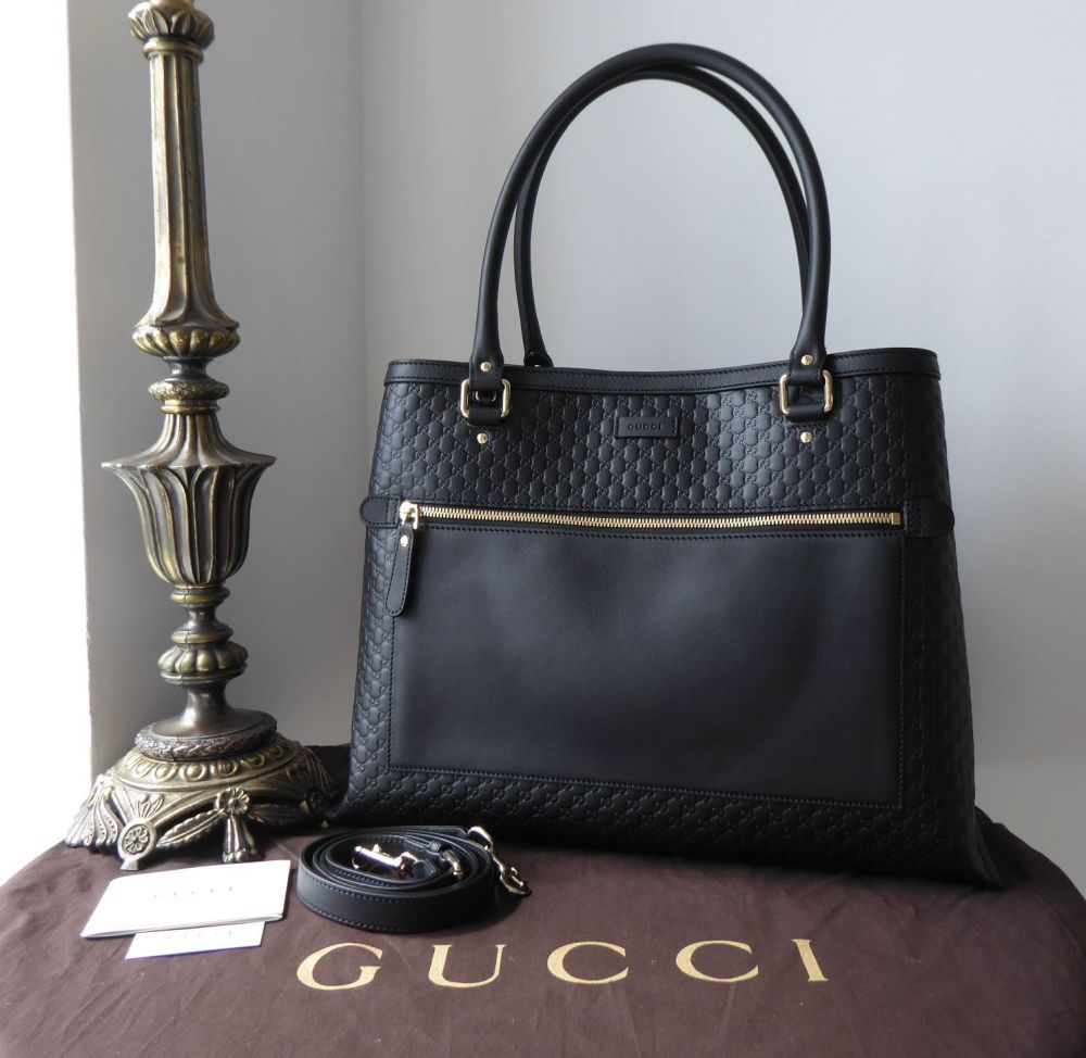 Gucci Large Soft Shoulder Tote in Black Micro GG Guccissima Embossed Calfsk