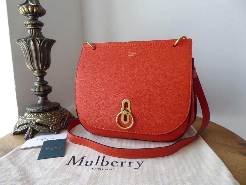 Mulberry Amberley Satchel in Tangerine Orange Small Classic Grain - New