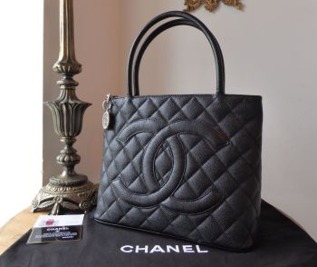 Chanel Medallion Tote in Black Caviar Leather with Ruthenium Hardware