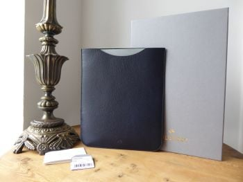 Mulberry Simple iPad Tablet Sleeve Case in Midnight Blue Dark Navy Shiny Goat - New