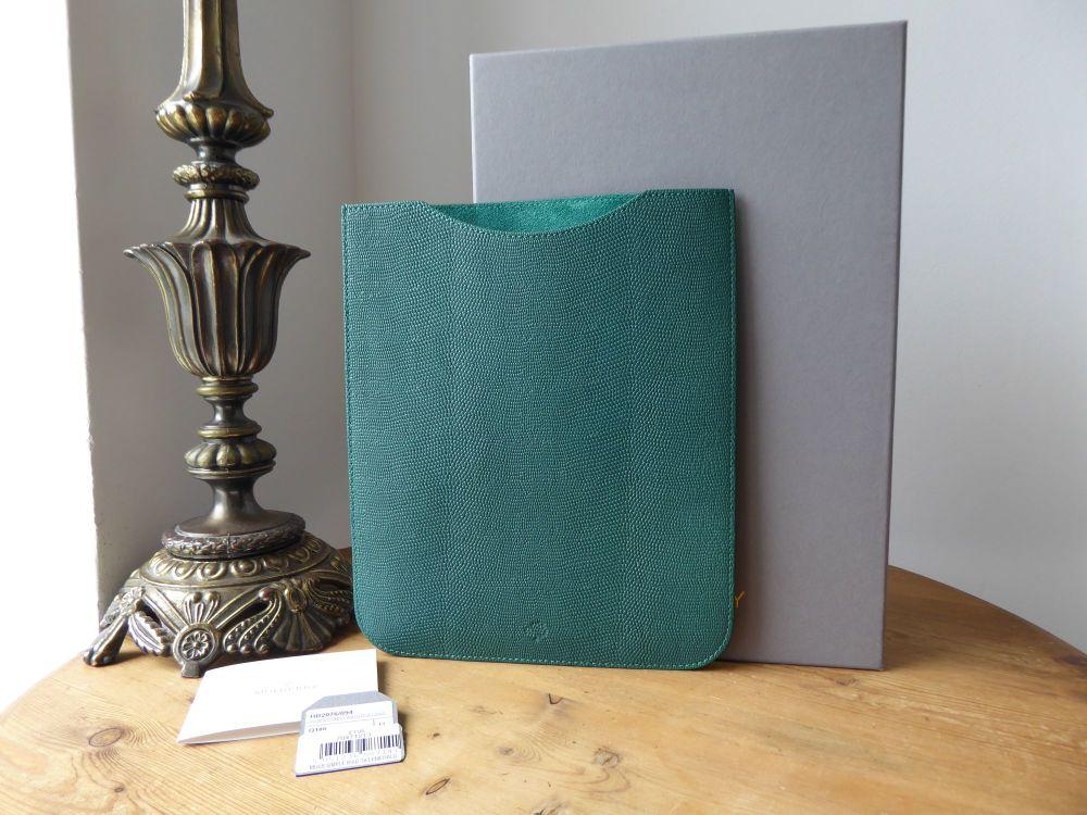 Mulberry Simple iPad Tablet Sleeve Case in Emerald Green Textured Lizard Pr