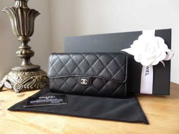 Chanel Classic Long Flap Purse Wallet in Black Caviar with Silver Hardware