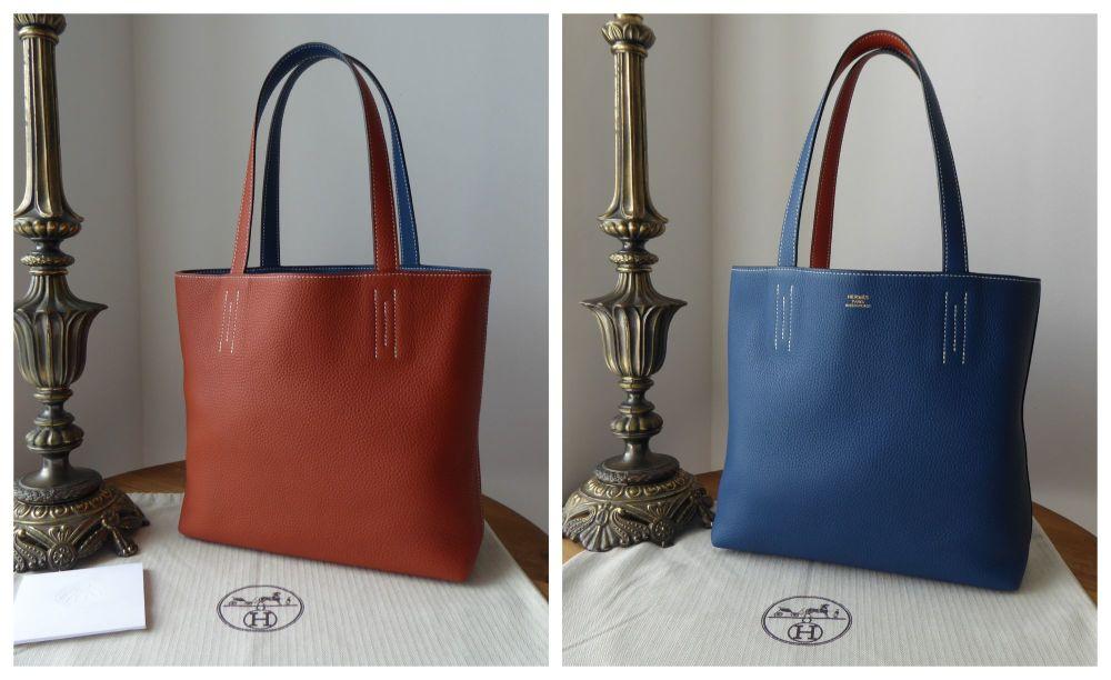 Hermés Double Sens 36 in Copper Cuivre & Deep Blue Bleu Clemence Leather -
