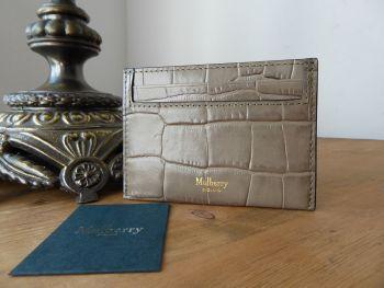 Mulberry Credit Card Slip Holder in Coriander Deep Embossed Croc Printed Calfskin - New*