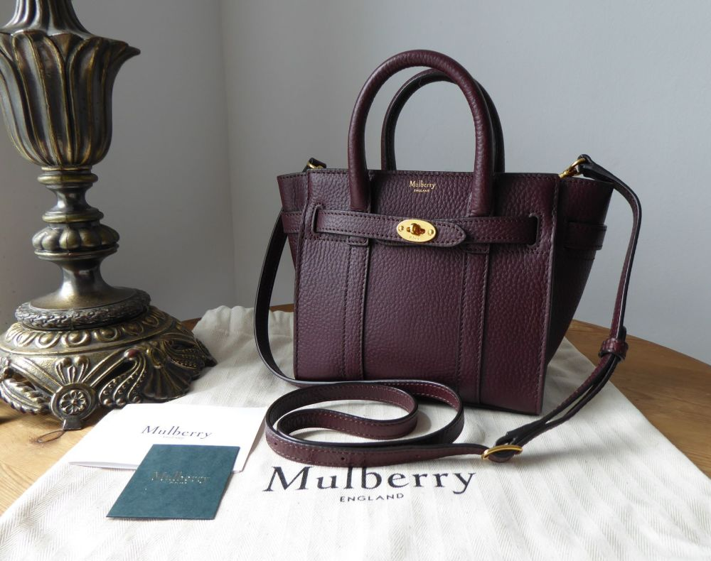 Mulberry Micro Zipped Bayswater in Oxblood Grain Vegetable Tanned Leather