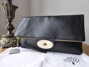 Mulberry Postmans Lock Fold Over Zip Clutch in Black Glossy Goat with Shiny Gold Hardware
