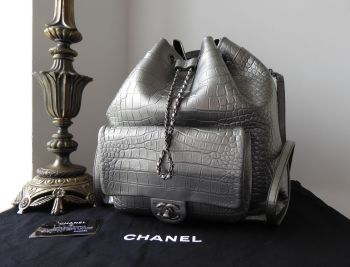 Chanel Large Drawstring Backpack in Metallic Silver Croc Embossed Calfskin - As New*