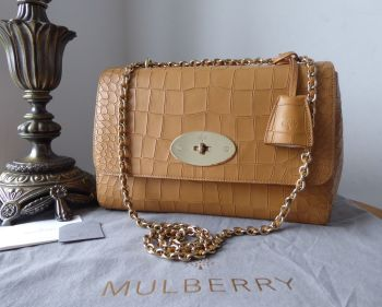 Mulberry Medium Lily in Camel Deep Embossed Croc Print Calfskin - New*