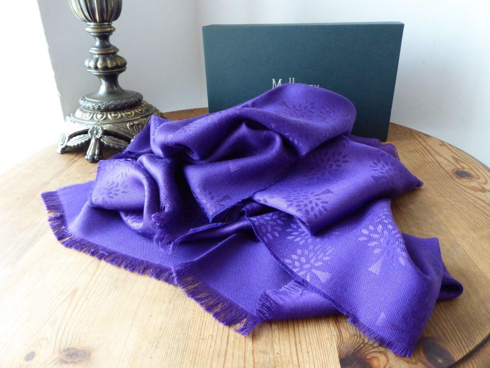 Mulberry Tree Rectangular Scarf in Purple Violet Silk Cotton Mix