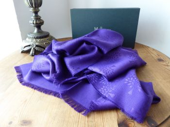 Mulberry Tree Rectangular Scarf in Purple Violet Silk Cotton Mix  - New*