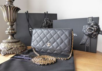 Chanel Classic Wallet on Chain WoC in Black Caviar with Shiny Gold Hardware