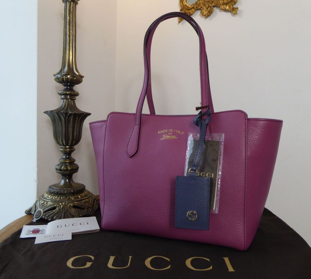 Gucci Small Swing Tote in Bicolore Heather Rose & Blue Calfskin - New*