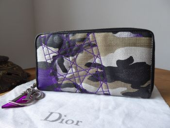 Dior Limited Edition Anselm Reyle Abstract Camo Printed Large Zip Around Continental Purse Wallet