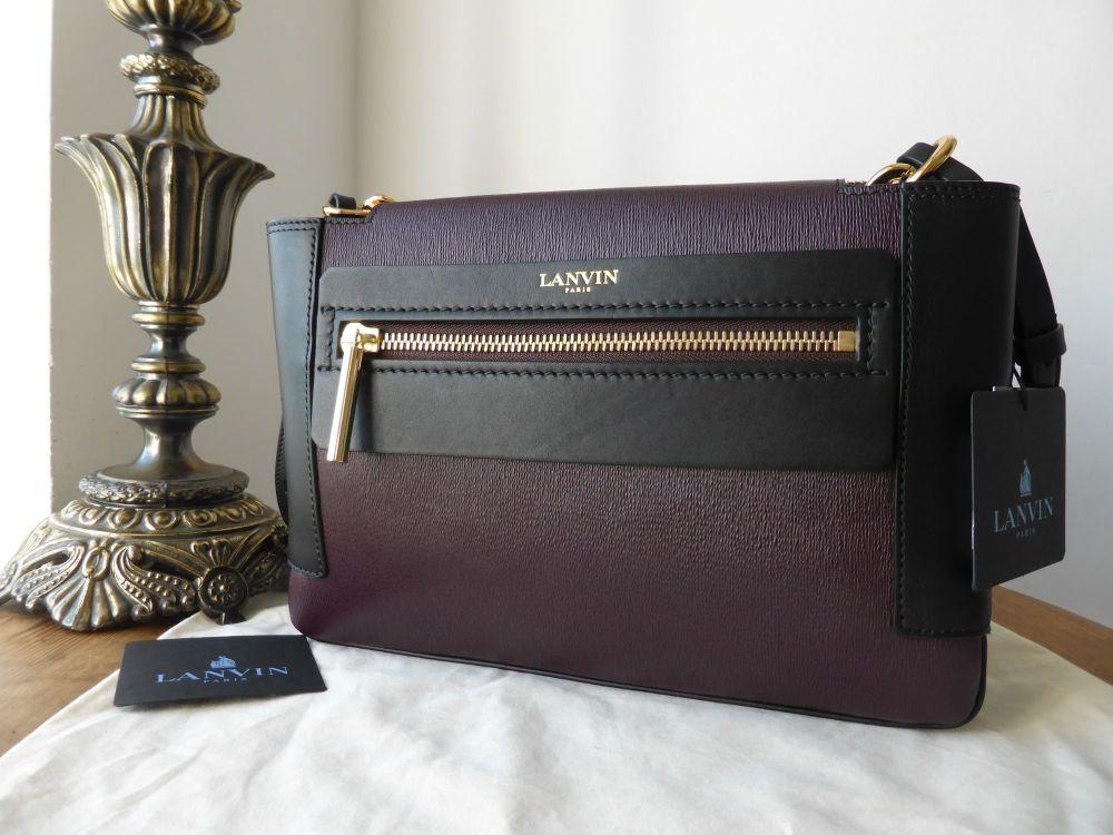 Lanvin Le Jour Beyond Bag in Textured Bordeaux and Black Calfskin - New