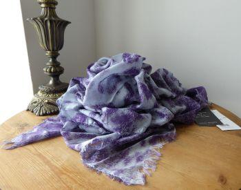 Stella McCartney XL Scarf Wrap Stole in Purple Animalia Leopard Print Modal Silk Mix - SOLD