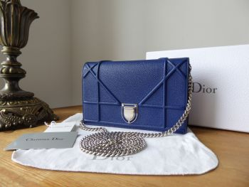 Dior Diorama Wallet on Chain in Bleu De Minuit Grained Calfskin with Silver Hardware